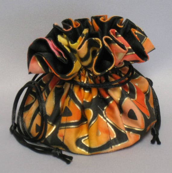 Jewelry Drawstring Travel Tote---Gold Trinidad Design---Regular Size Organizer Pouch