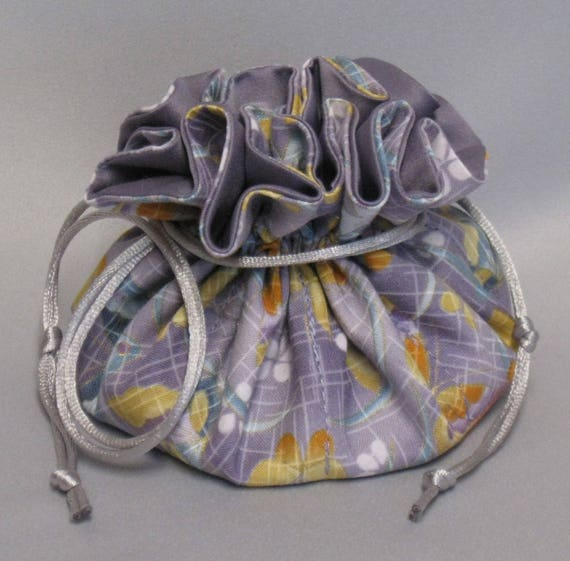 Jewelry Tote---Drawstring Organizer Pouch---Butterfly Floral Design--Regular Size