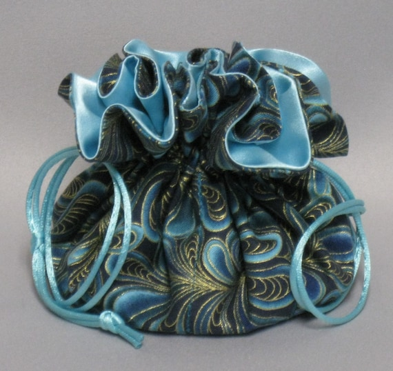 Jewelry Travel Tote---Drawstring Organizer Pouch---Aqua Feather Swirl Design---Eight Pockets---Regular Size