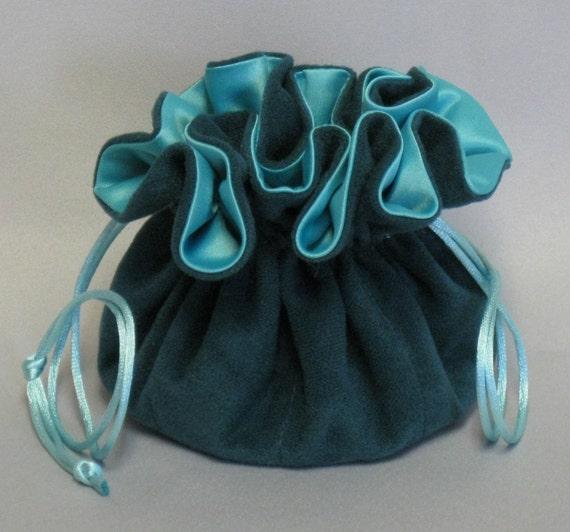 Jewelry Travel Tote--Aqua Soft Suede Fabric Organizer--Medium Size