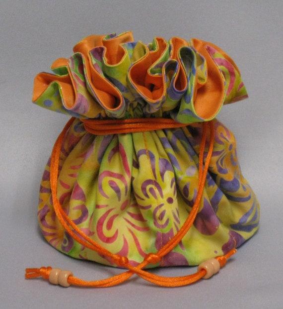 Jewelry Drawstring Organizer Travel Tote--Art Deco Batik Design---Eight Pockets--Large Size
