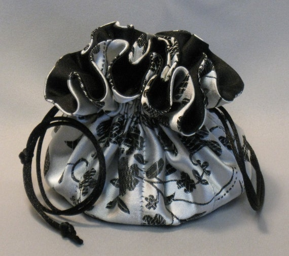 Jewelry Drawstring Travel Tote---Organizer Pouch---Silver and Black Floral Satin Brocade---Regular Size
