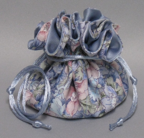 Jewelry Travel Tote--Beautiful Field of Flowers Design ---Drawstring Organizer Travel Pouch---- Icy Blue Satin---Regular Size