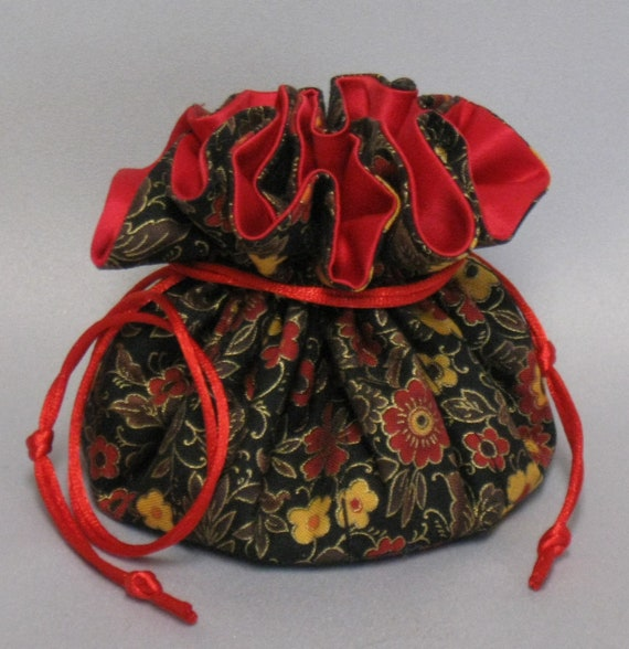 Jewelry Travel Tote---Drawstring Organizer Pouch---Floral Garden Design---Regular Size