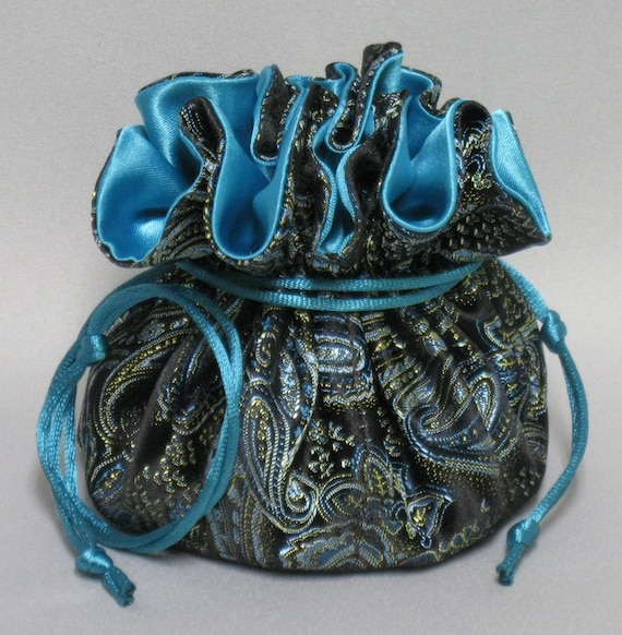 Jewelry Drawstring Travel Tote---Eight Pocket Organizer Pouch---Turquoise, Gold & Dark Brown Paisley Satin Brocade---Regular Size