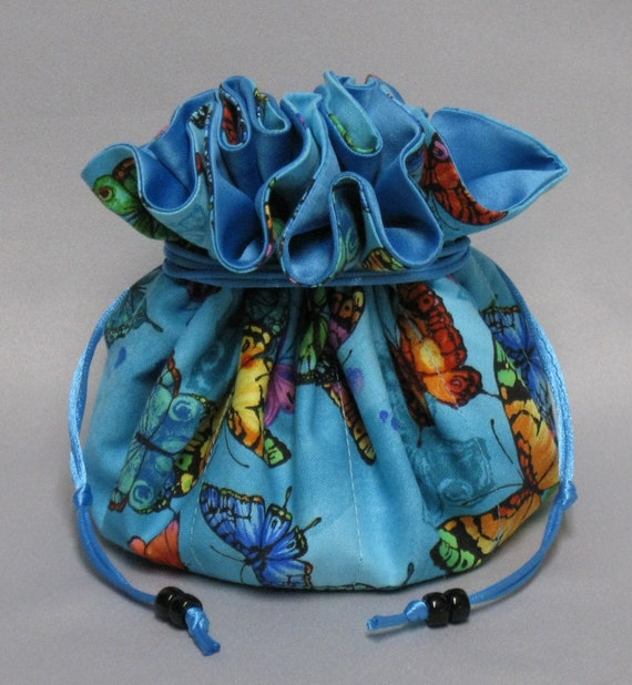 Butterflies Jewelry Tote---Eight Large Pockets--Drawstring Organizer--Large Size