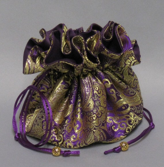 Jewelry Travel Tote---Beautiful Purple & Gold Paisley Design---Satin Brocade Drawstring Organizer---Large Size---Eight Pockets