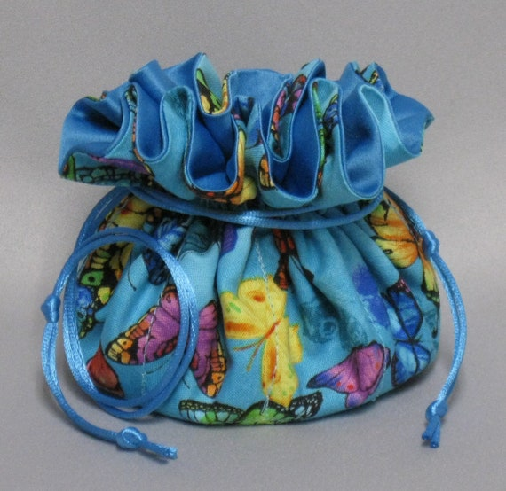 Butterflies--Jewelry Travel Tote---Drawstring Organizer Pouch---Eight Pockets--Regular Size