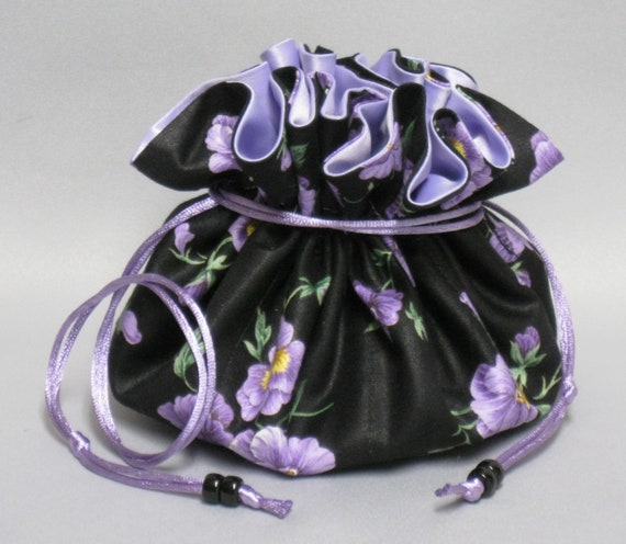 Jewelry Drawstring Organizer Travel Tote--Perfect Purple Pansies---Eight Pockets--Large Size