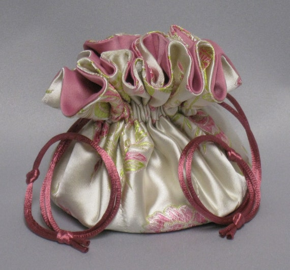 Rose Floral Design--Jewelry Drawstring Travel Tote---Satin Brocade Organizer---Regular Size