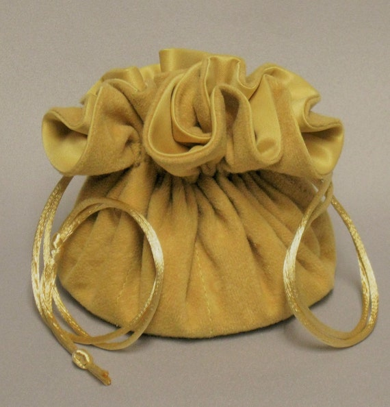 Jewelry Travel Tote---Drawstring Organizer Pouch---Light Gold Soft Suedecloth---Regular Size