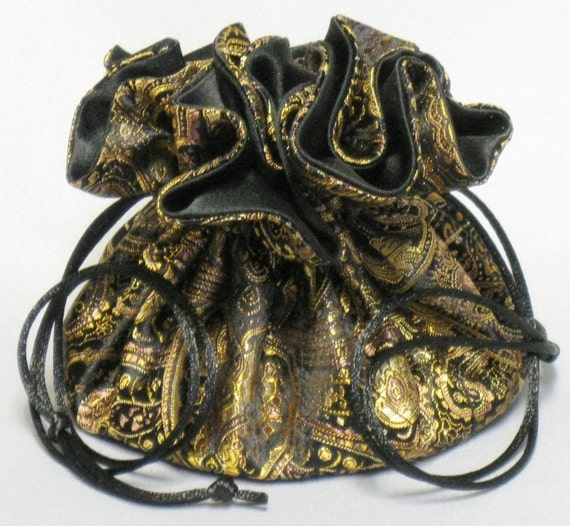 Jewelry Travel Tote---Drawstring Pouch---Black & Gold Paisley Satin Brocade---Regular Size