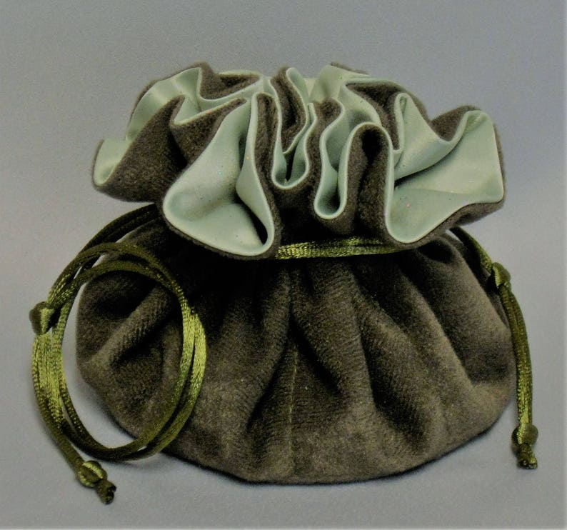 Jewelry Travel Tote---Drawstring Organizer Pouch---Olive Green Soft Suedecloth---Regular Size