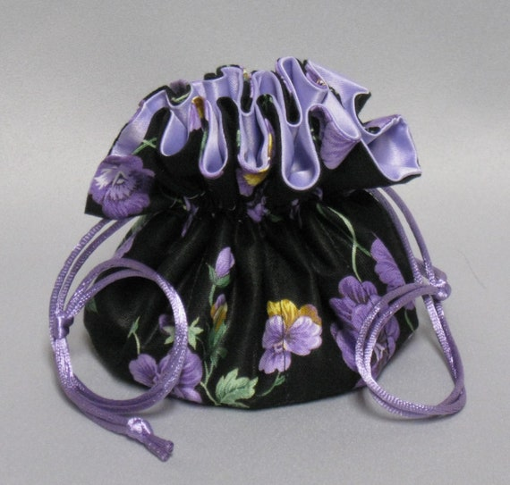 Purple Pansy Jewelry Travel Tote---Drawstring Organizer Pouch---Regular Size