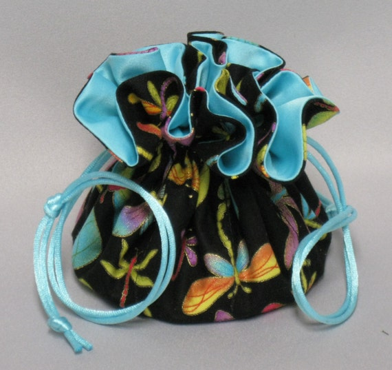 Jewelry Drawstring Travel Tote---Dragonflies Design Organizer Pouch-----Regular Size