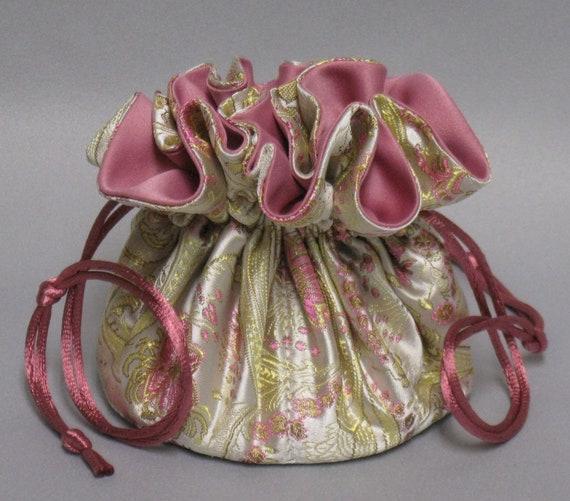 Jewelry Drawstring Travel Tote---Elegant Paisley Floral Design---Satin Brocade Drawstring Organizer---Regular Size