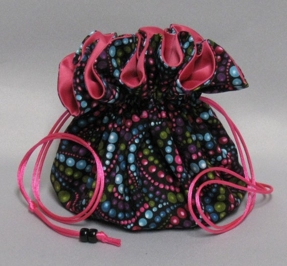 Beautiful Beads Jewelry Travel Tote---Drawstring Organizer Travel Pouch---Eight Pockets---Large Size
