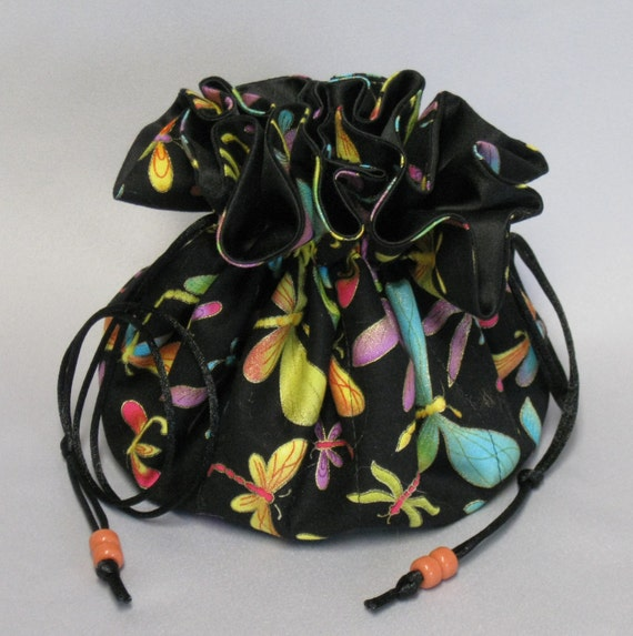Jewelry Tote---Drawstring Organizer Pouch--Dragonflies in Flight---Large Size