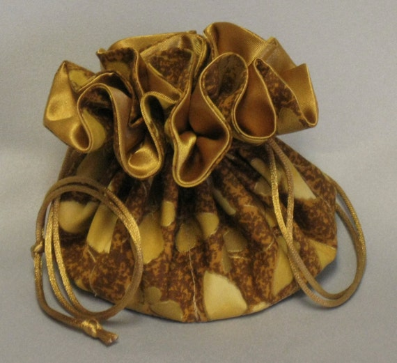 Jewelry Travel Tote---Drawstring Organizer Pouch---Gold Butterflies---Regular Size