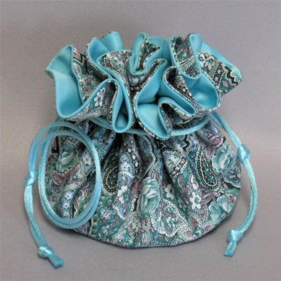 Jewelry Travel Tote---Drawstring Organizer Pouch---Aqua Floral Paisley Design---Eight Pockets---Regular Size