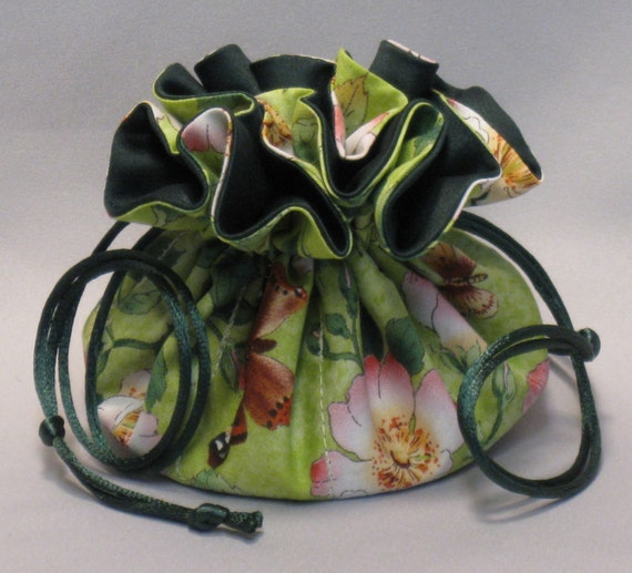 Jewelry Tote---Drawstring Organizer Pouch--Butterfly Floral Garden Design---Regular Size