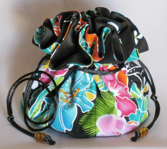 Jewelry Tote---Drawstring Organizer Travel Pouch--Hawaiian Floral Design---Large Size