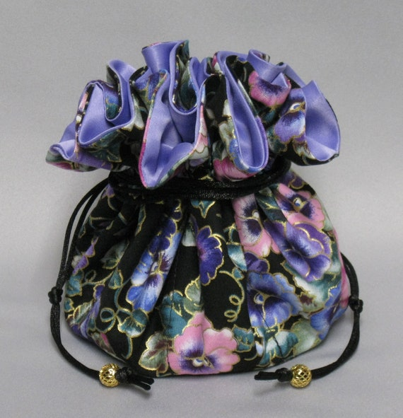 Colorful Pansy Floral--Jewelry Travel Tote---Drawstring Organizer Pouch---Eight Pockets---Large Size