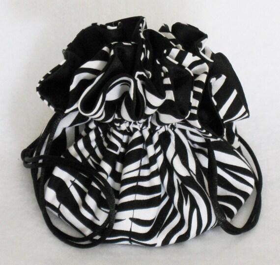 Jewelry Travel Tote--Drawstring Organizer Pouch---Eight Pockets---Zebra Print---Regular Size