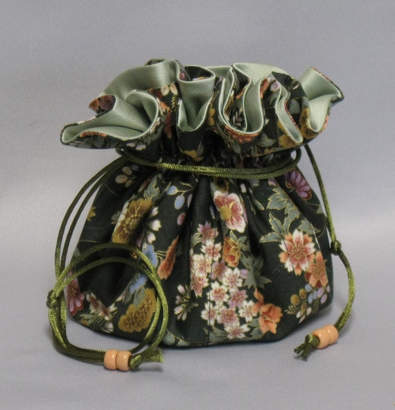 Jewelry Tote---Drawstring Organizer Travel Pouch---Asian Floral Design---Large Size