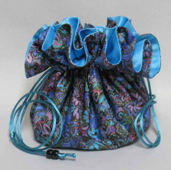 Jewelry Travel Tote---Beautiful Multi-Color Paisley Design--- Drawstring Organizer Pouch---Large Size---Eight Pockets