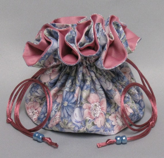 Jewelry Travel Tote--Beautiful Field of Flowers Design ---Drawstring Organizer Travel Pouch---Rosy Pink or Icy Blue Satin---Large Size