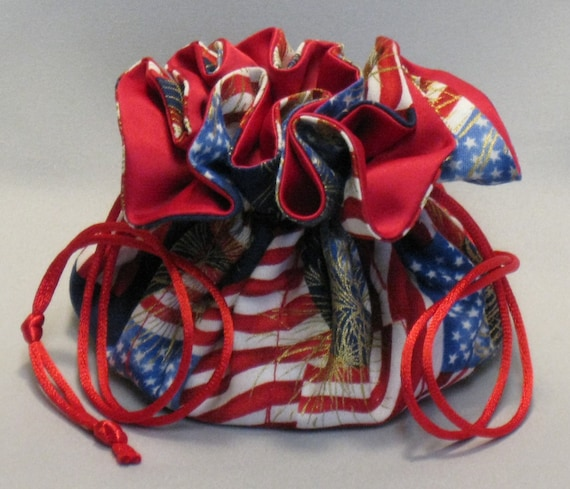 Jewelry Travel Tote---Drawstring Organizer Pouch---American Flag---Regular Size