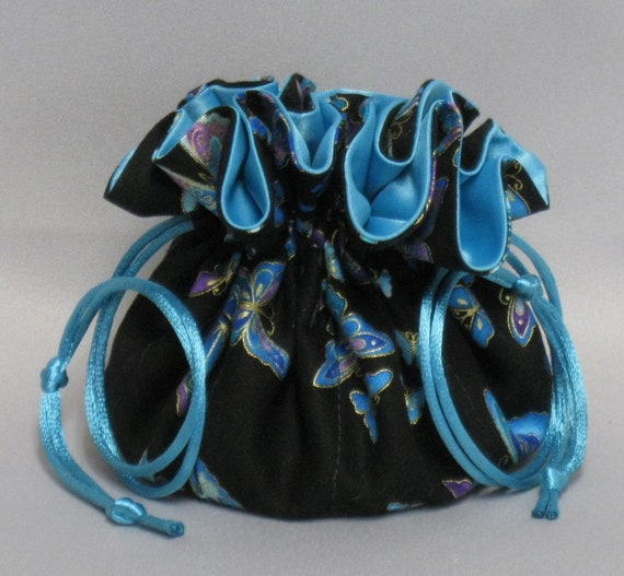 Jewelry Travel Tote--Drawstring Organizer Pouch--Beautiful Bufferfly Design---Regular Size