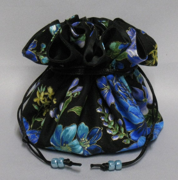 Jewelry Drawstring Travel Tote---Beautiful Floral Design Organizer Pouch-----Eight Pockets---Large Size