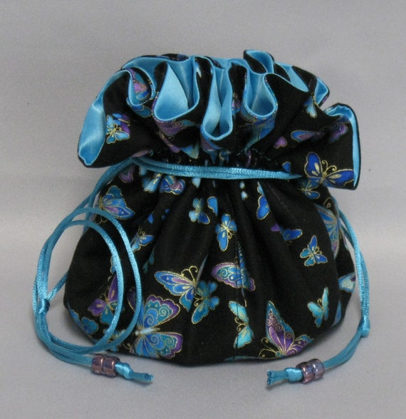 Beautiful Butterflies--Jewelry Drawstring Travel Tote---Eight Pockets--Large Size
