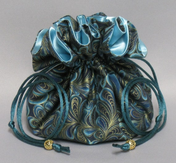 Jewelry Drawstring Travel Tote---Beautiful Feather Swirls Organizer Pouch-----Eight Pockets---Large Size