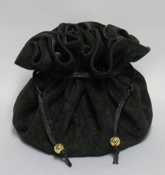 Black Soft Suedecloth--Jewelry Travel Tote--- Large Eight Pocket Organizer Pouch