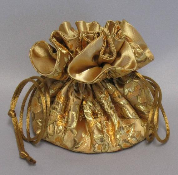 Jewelry DrawstringTravel Tote---Elegant Gold Floral Design---Satin Brocade Drawstring Organizer---Regular Size