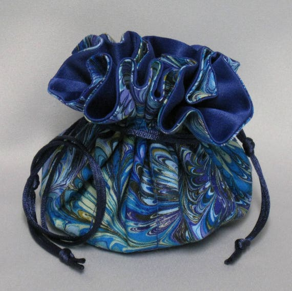 Jewelry Drawstring Travel Tote---Swirling Color Design Organizer Pouch-----Regular Size