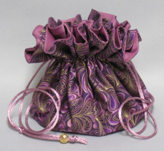 Jewelry Drawstring Travel Tote---Beautiful Feather Swirls Organizer Pouch-----Eight Pockets---Large Size---Choose your color satin.