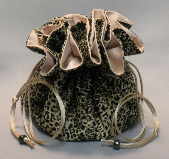 Jewelry Travel Tote---Drawstring Organizer Pouch---Black Leopard Print---Eight Pockets--- Large Size