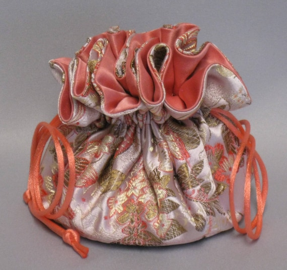 Jewelry Travel Tote---Satin Brocade Drawstring Organizer Pouch---Coral / Peach Floral and Butterflies--Regular Size