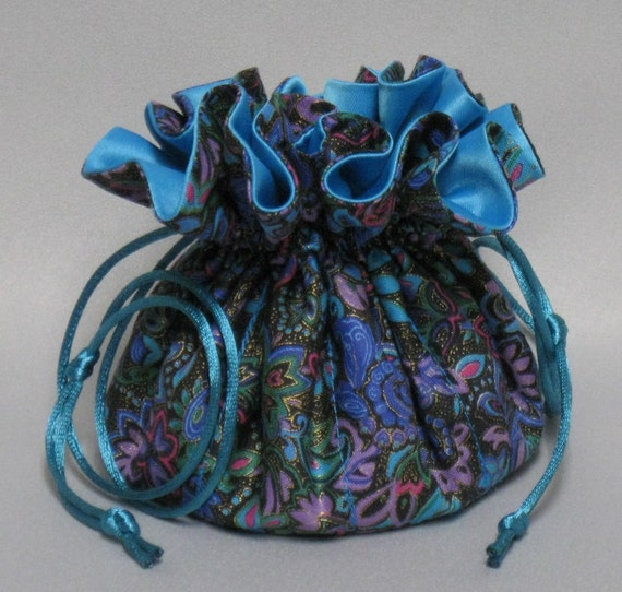 Jewelry Travel Tote---Drawstring Organizer Pouch---Beutiful Floral Paisley Design---Eight Pockets---Regular Size