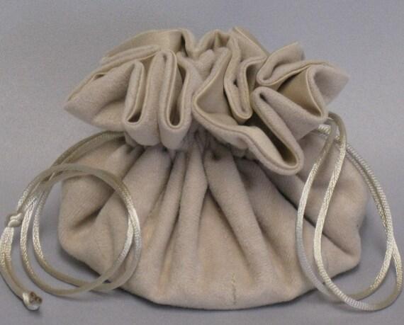Jewelry Travel Tote---Drawstring Organizer Pouch---Beige Soft Suedecloth---Regular Size