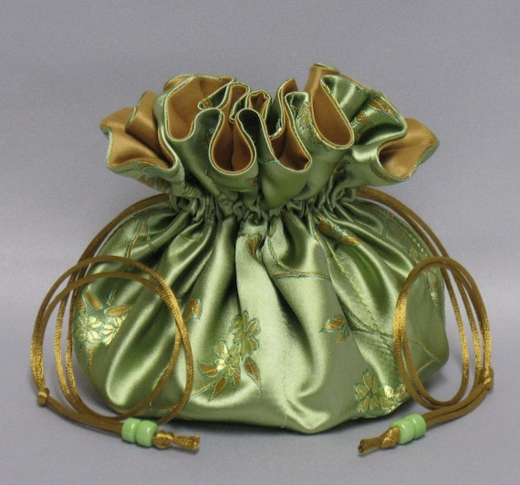 Jewelry Travel Tote---Satin Brocade Drawstring Organizer Pouch---Beautiful Floral Design-- Large Size