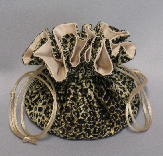 Leopard Print Organizer Pouch--Jewelry Tote--Medium Size