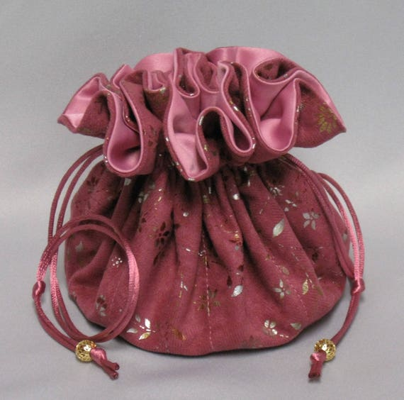 Jewelry Travel Tote---Eight Pocket Organizer Pouch--- Pink Soft Suedecloth---Large Size