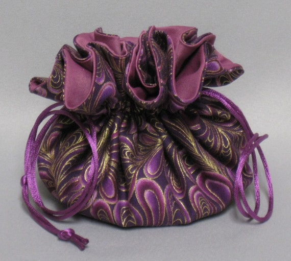 Jewelry Travel Tote---Drawstring Organizer Pouch---Burgundy Feather Swirl Design---Eight Pockets---Regular Size