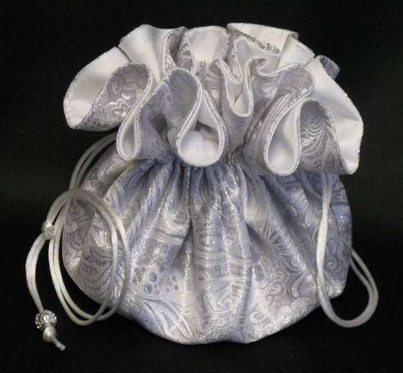 Brides Jewelry Tote---Drawstring Organizer Travel Pouch---Elegant Silver & White Satin Brocade---Large Size