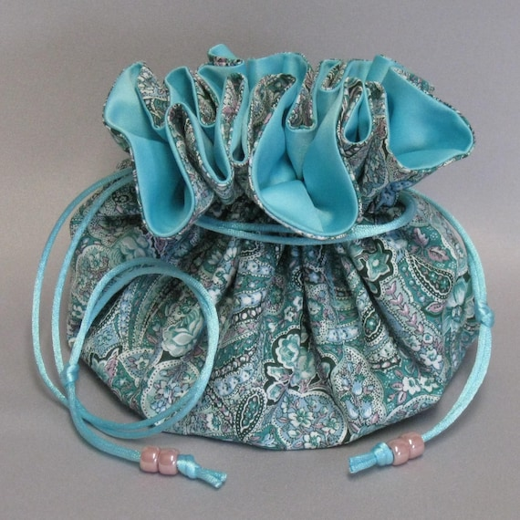 Jewelry Travel Tote---Drawstring Organizer Pouch---Aqua Paisley Floral Design---Eight Pockets---Large Size